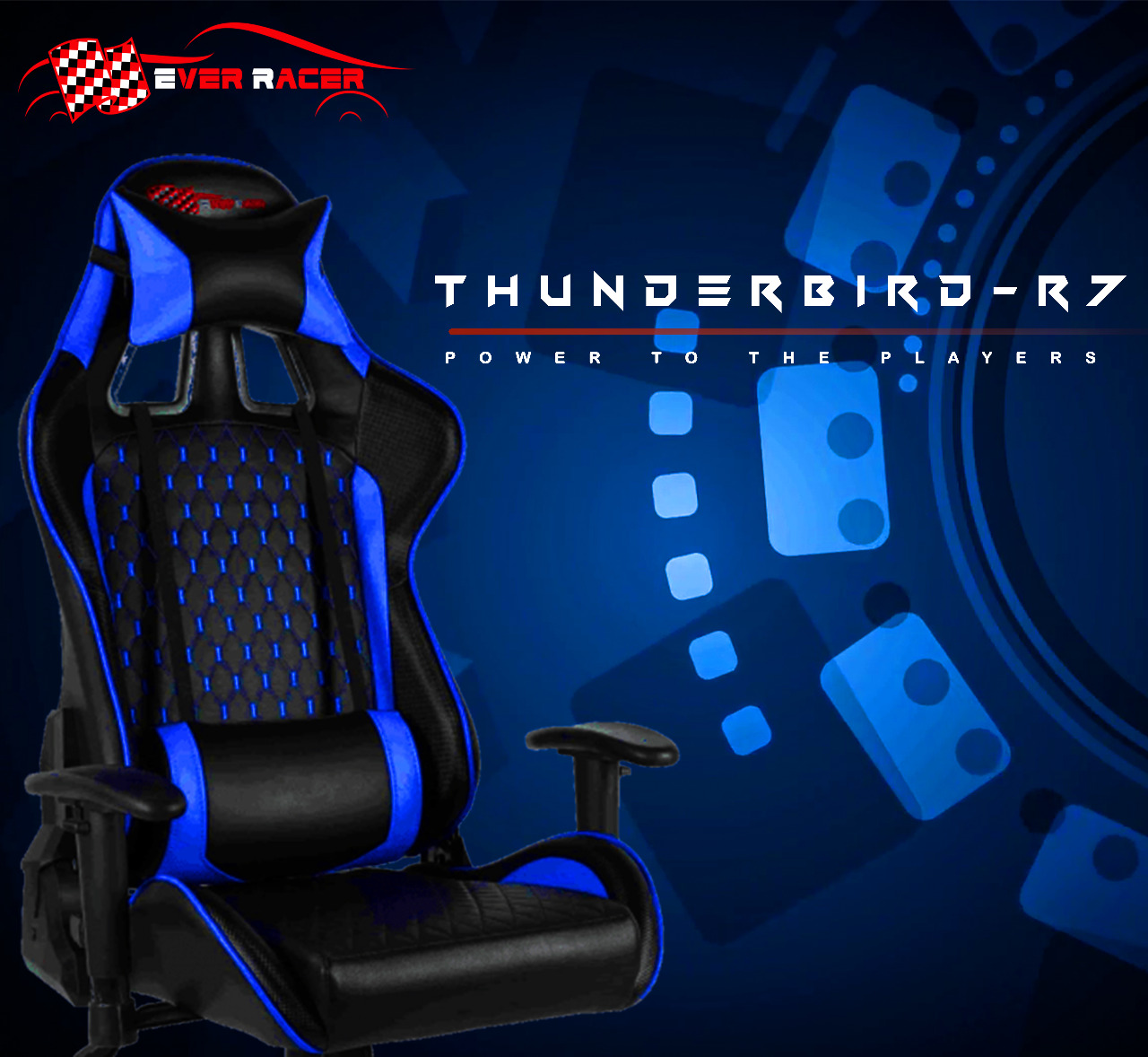 New EverRacer Gaming Office Chair PU Leather Black & Blue