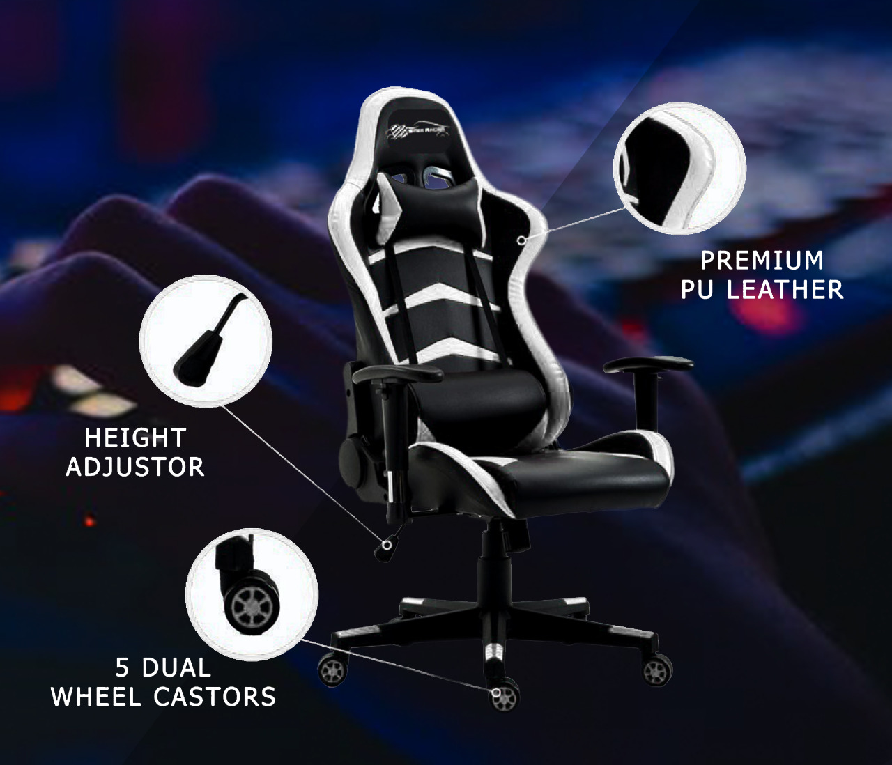 New EverRacer Gaming Office Chair PU Leather Black & White