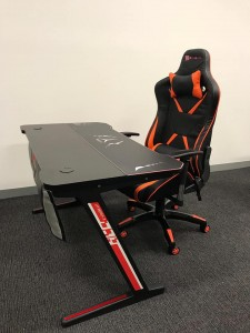 New Raptor Black and Orange Chair With Scorpion Gaming Desk