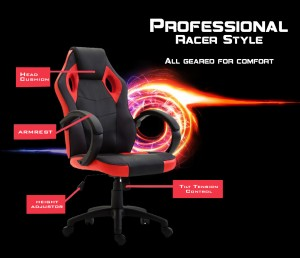Red Executive Computer Office Chair PU Leather