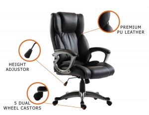 New Executive Premium PU Leather Office Chair Black