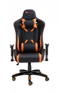 PU Leather Reclining Office Desk Gaming Executive Chair -Orange