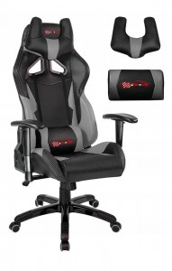 Latest EverRacer Grey & Black Carbon Fiber Gaming Office Chair