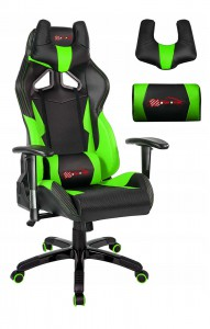 Latest EverRacer Green & Black Carbon Fiber Gaming Office Chair