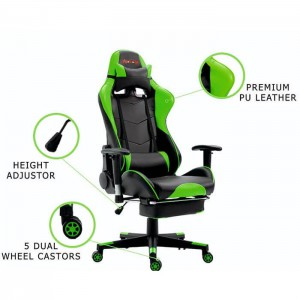 PU Leather Reclining Office Desk Gaming Chair With Footrest, Green