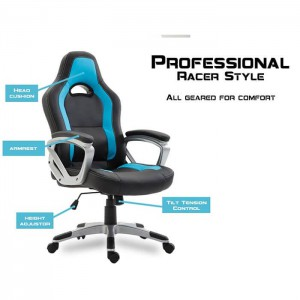 Blue Executive Computer Office Chair PU Leather