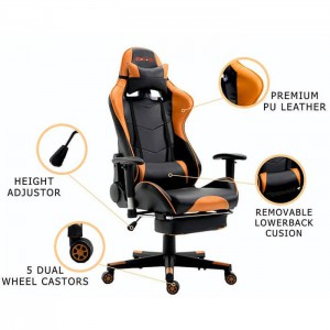 PU Leather Reclining Office Desk Gaming Chair With Footrest, Orange